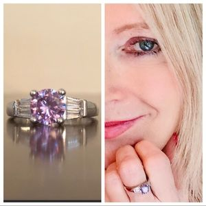 925 silver ring with purple and clear stones